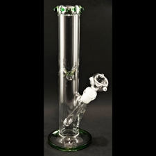12 Inch Straight Tube Bong with Colored Crown Mouthpiece and Base 5mm  A-301