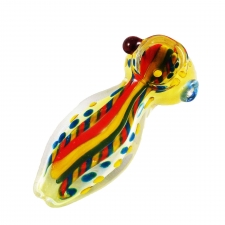 3 Inch Flat Body Glass Handpipe with Rasta lines A-36