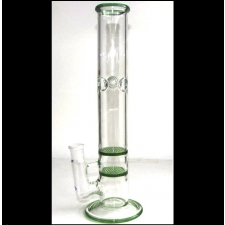 14 Inch Green Trim Glass Bong with Double Honeycomb Percolator