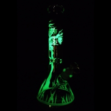 Clover Glass Bong with Glow in the Dark Skull Tree 14 Inch 7mm