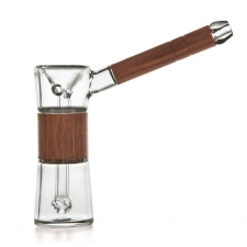 Marley Natural Glass and Black Walnut Waterpipe Bubbler