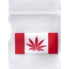 Canadian Pot Flag 1x1 Inch Plastic Baggies 100 pcs.
