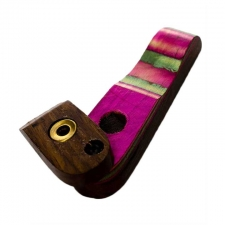 Multicolored Wooden Handpipe with Lid Style 1