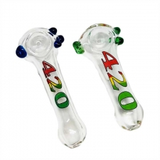 Clear Glass Handpipe with 420 Logo and Colored Dots