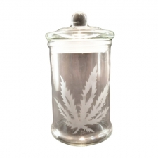 Glass Stash Jar With Sandblasted Leaf