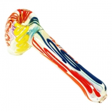 Fumed Hammer Bubbler with Colored Lines 6 Inch