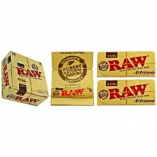 Raw Classic King Size Slim Artesano 110mm Rolling Paper with Tips and Tray Box (15 Packs)
