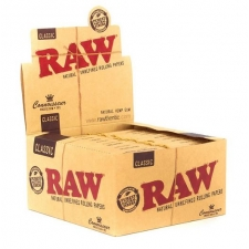 Raw Classic King Size Slim Connoisseur 110mm Rolling Paper with Tips Box (24 Packs)