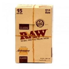 Raw Classic 1 1/4 Artesano 79mm Rolling Papers with Tips and Tray Box (15 Packs)