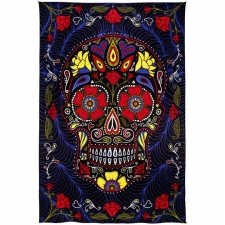 3D Black Sugar Skull Tapestry By Dina June Toomey Tapestry - BedSheet 60x90