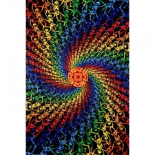 3D Rainbow Skeletons Spiral By Dina June Toomey Tapestry - BedSheet 60x90