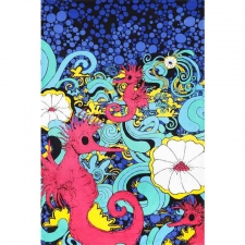 3D Red Seahorse Party by Vincent Gordon Tapestry - BedSheet 60x90