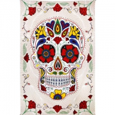 3D White Sugar Skull Tapestry By Dina June Toomey Tapestry - BedSheet 60x90