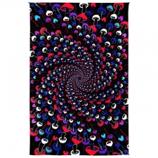 3D Glow In The Dark Shroom Spiral By Dina June Toomey Tapestry - BedSheet 60x90