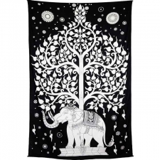 Zest For Life Black Elephant Tree Tapestry - BedSheet 52x80