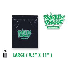 Smelly Proof Large Black Bags 9.5'' x 11'' Pack of 50