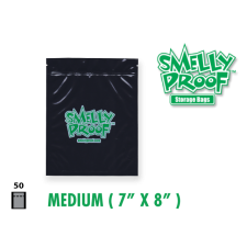 Smelly Proof Medium Black Bags 7'' x 8'' Pack of 50