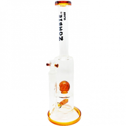 15 Inch Stemless Micro Mouthpiece Waterpipe with 1 Inline and 1 Cyclonic Sphere Percolator from Zombie Glass - CA-20