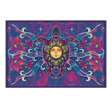3D Tapestry Tribal Turtle, Sun and Flowers 60x90