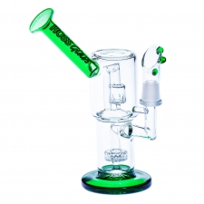 Mini 7 Inch Double Showerhead Percolator Rig and Micro Mouthpiece from Hoss Glass H110