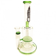 10 Inch Stemless Straight Tube Bong with Honeycomb Percolator and Splashguard from KnockOut