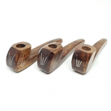 Dark Hard Wood Handpipe with Metal Inlay - Large