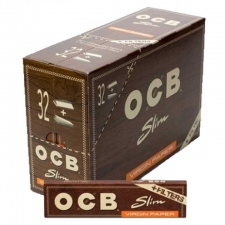 OCB Virgin Unbleached King Size Slim 110mm Rolling Papers with Tips - Box of 32 Packs