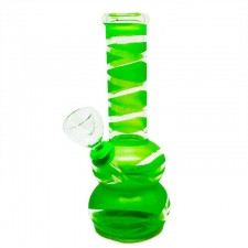 Mini Colored Glass Bong with Clear Stripes