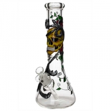 9mm Glass Beaker Bong with Skull and Roses Artwork