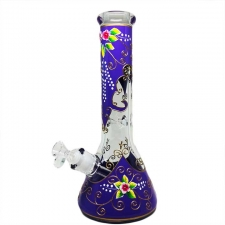 9mm Glass Beaker Bong with Hand Painted Flower Artwork