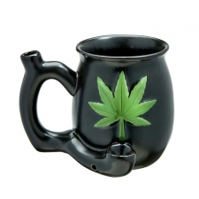 Ceramic Mug Pipe from Premium Roast and Toast - Matte Black & Green Leaf