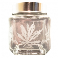 Square Glass Stash Jar With Sandblasted Leaf