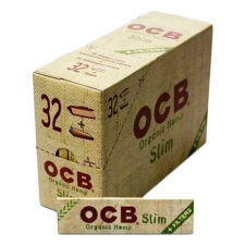 OCB Organic Hemp King Size Slim 110mm Rolling Papers with Tips Box of 32 packs