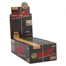 Raw Black 70mm Single Wide Double Window Rolling Papers Box