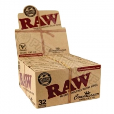 Raw Organic Hemp King Size Slim Connoisseur 110mm Rolling Paper with Tips Box (24 Packs)