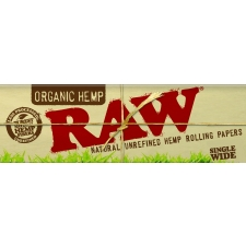 Raw Organic Hemp Single Width Single Window 70mm Rolling Paper Box (50 Packs)