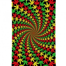 3D Rasta Leaf Spiral Tapestry By Taylar McRee Tapestry - BedSheet 60x90