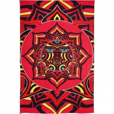3D Red Sun Face Tapestry by Rick Sinnett - BedSheet 60x90