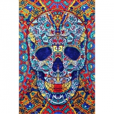 3D Skull By Chris Pinkerton Tapestry - BedSheet 60x90