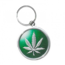 Chrome Pot Leaf Keychain