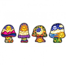 4 Mini Mushrooms by Dan Morris Stickers