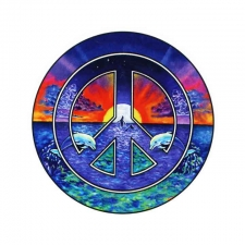 Dolphin Peace Sign Two Sided Window Sticker