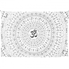 Universal Om Mandala By Dina June Toomey Tapestry - BedSheet 52x80