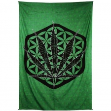 Zest For Life Sacred Pot Leaf Tapestry - BedSheet 52x80