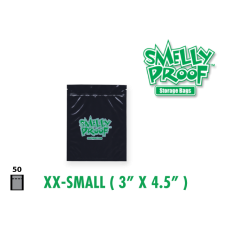 Smelly Proof Extra Extra Small Black Bags 3'' x 4.5'' Pack of 50