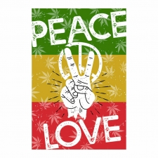 Tapestry Peace and Love Rasta 24x36