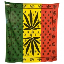 Giant Leaf Rasta double Bed Sheet / Tapestry