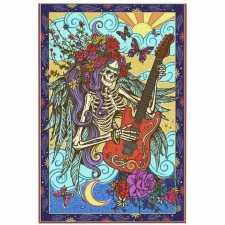 3D Tapestry Angel Skeleton With Guitar 60x90