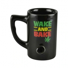 Wake & Bake 8oz Rasta Novelty Mug Pipe